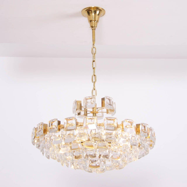 Gold Glamorous Palwa Gilded Brass and Glass Jewel Chandelier For Sale - Image 8 of 8