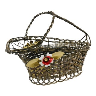 Antique Painted Silver Basket For Sale