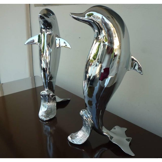 Modern Pair of 70's Chromed Upright Swimming Dolphins For Sale - Image 3 of 6