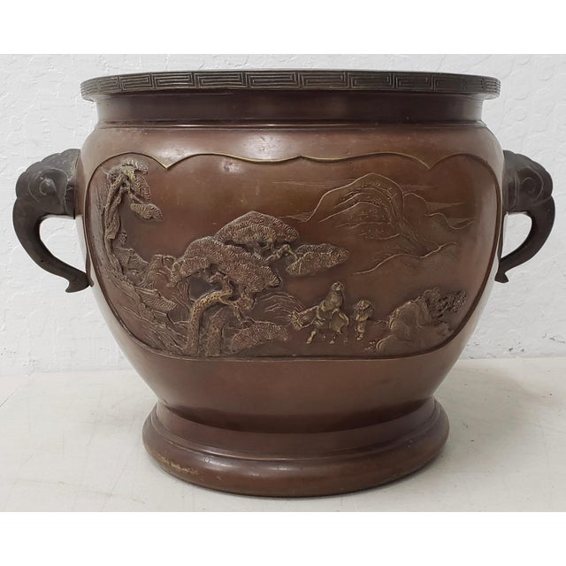 Asian Early 20th Century Chinese Raised Relief Bronze Planter For Sale - Image 3 of 9