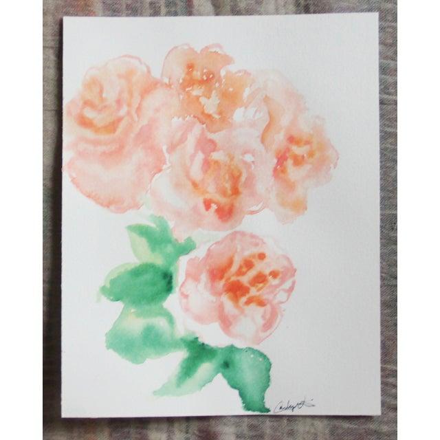 """Peach Peonies"" Watercolor Painting - Image 2 of 4"
