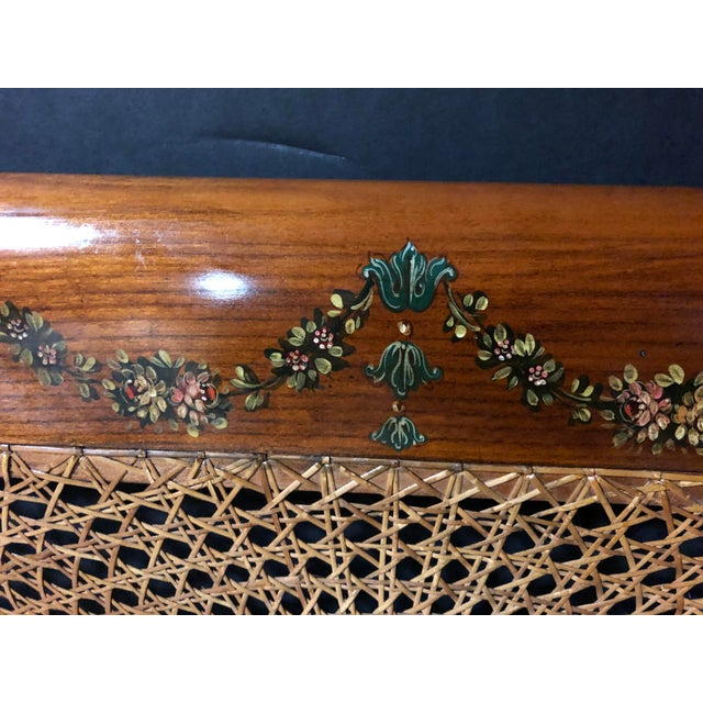 20th Century Edwardian Hand Painted and Caned Wood Twin Bedframe For Sale - Image 4 of 7