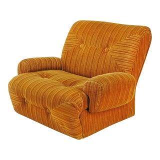 Art Deco Revival Club Chair in Orange Striped Cut Velvet For Sale