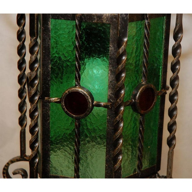 Metal Wrought Iron Lanterns - A Pair For Sale - Image 7 of 10