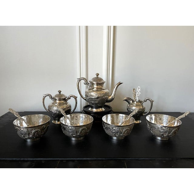 Chinese Export Sterling Silver Tea Set with Dragon Design Tianjing Wuhua - 13 Pieces For Sale - Image 11 of 13
