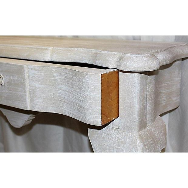 Queen Anne Faux-Painted White Wall Console Table For Sale - Image 7 of 7