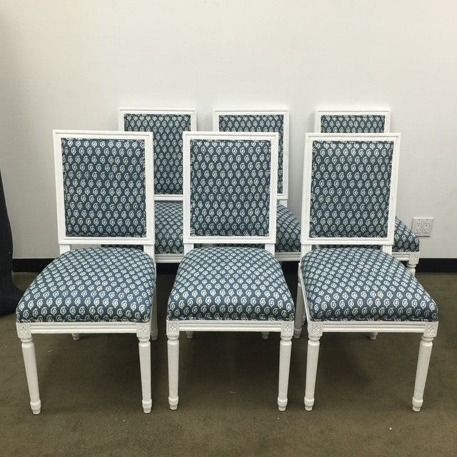 White French Style Dining Chairs in Batik Fabric - Set of 6 For Sale - Image 10 of 10