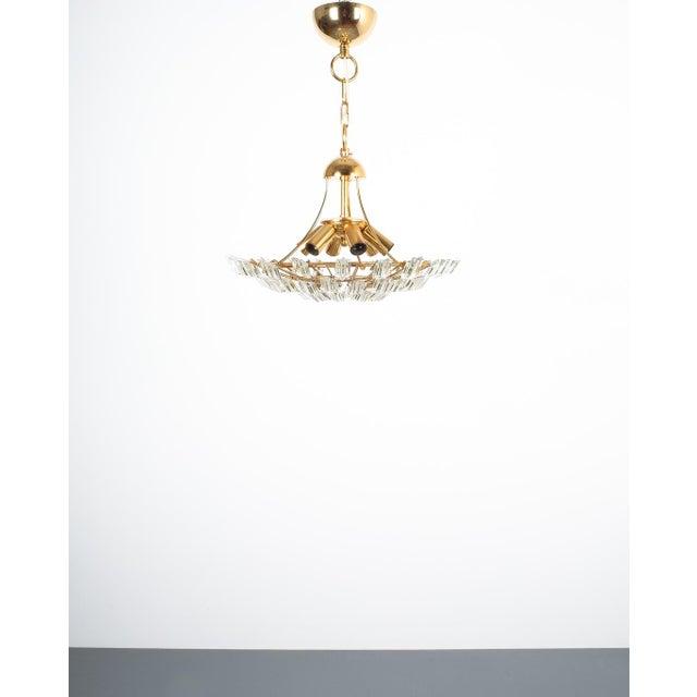 Italian Italian Stilkrone Crystal Glass and Gilded Brass Flush Mount For Sale - Image 3 of 8