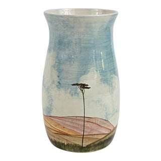 1972 Italian Hand Painted Porcelain Vase For Sale