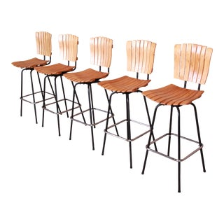 Arthur Umanoff Style Mid-Century Modern Swivel Bar Stools, Set of Five For Sale