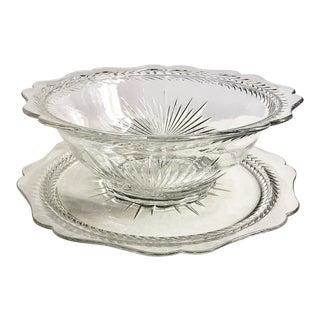 "1930's Jeanette Glass Co. ""Sunburst"" Bowl & Platter - 2 Piece Set For Sale"
