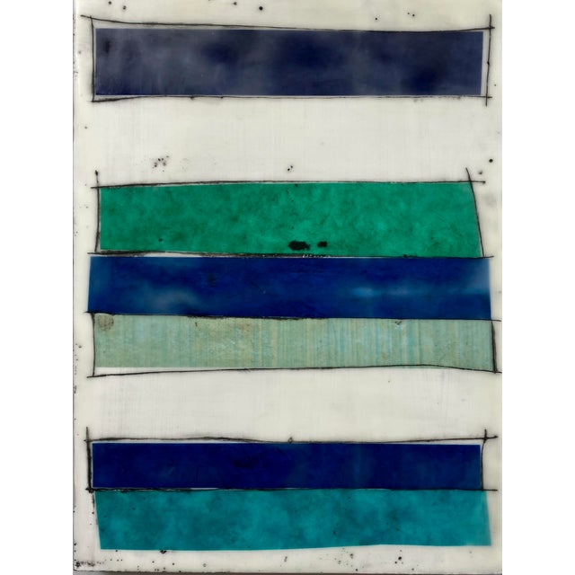 """Blue """"Notes to My Younger Self"""" 9 Panels Encaustic Collage Installation by Gina Cochran For Sale - Image 8 of 13"""