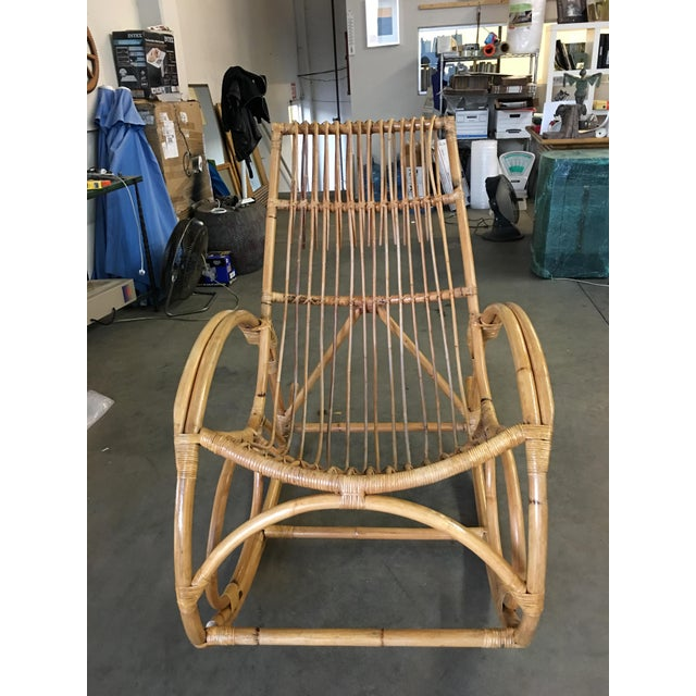 Brown Restored Oversized Stick Rattan Rocking Chair in the Style of Franco Albini For Sale - Image 8 of 12