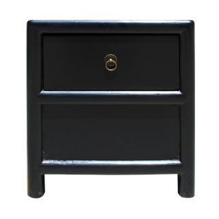 Oriental Distressed Black 1 Drawer End Table Nightstand For Sale
