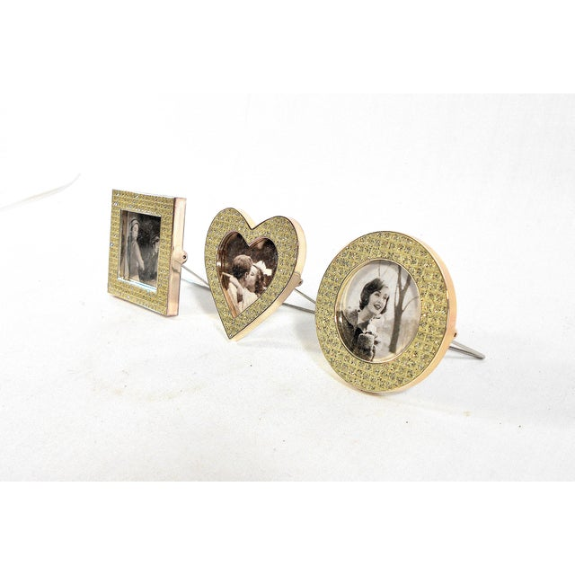 Traditional Three Mini Diamond Photo Frames by Milano Series For Sale - Image 3 of 9