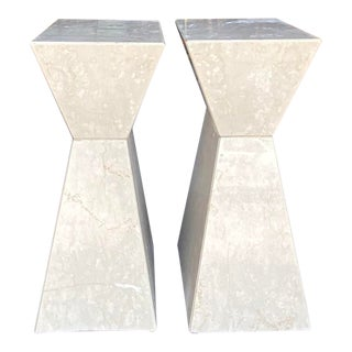 Contemporary Angled Marble Dining Table Pedestal For Sale