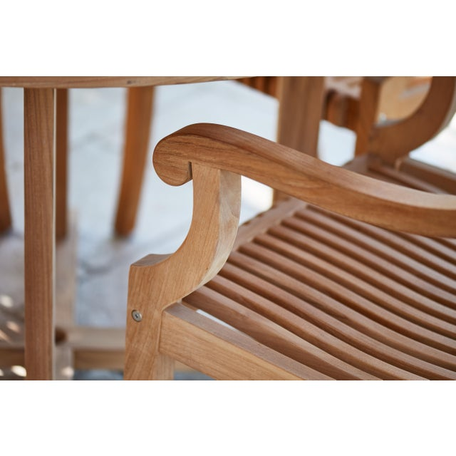 Palm Teak Outdoor Armchair For Sale - Image 4 of 10
