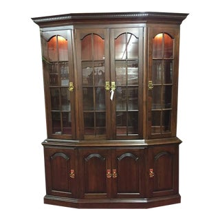 1970s Pennsylvania House Canted Cherry China Cabinet For Sale