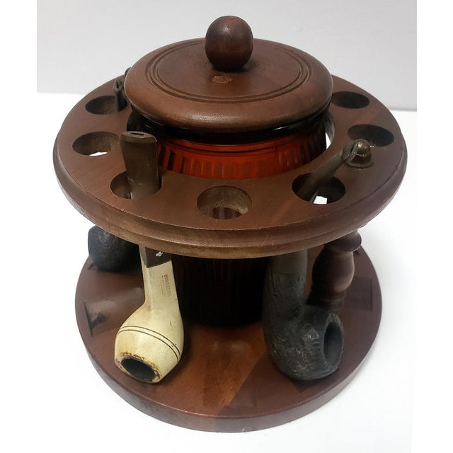 Dunhill 1950s Dun-Rite Walnut Pipe Rack W/ Humidor Tobacco Jar For Sale - Image 4 of 6