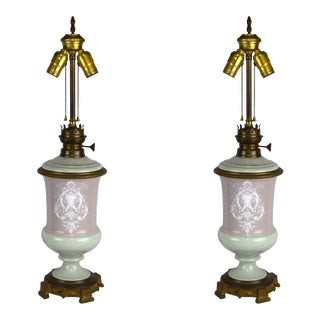 19th Century Antique Neoclassical Pate Sur Pate Porcelain Lamps - a Pair For Sale