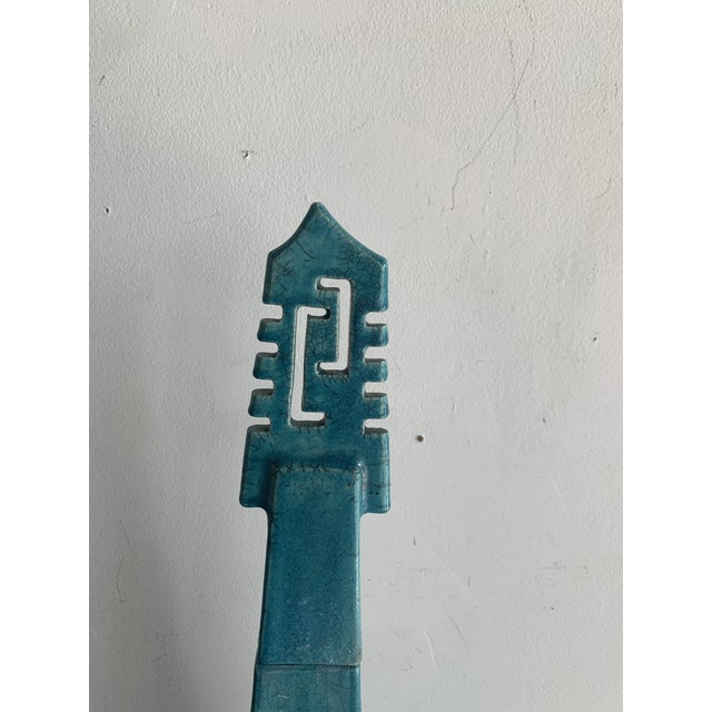 Mid-Century Modern Large Vintage Turquoise James Mont Style Raku Pottery Decanter For Sale - Image 3 of 12