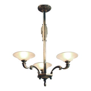 1920s Vintage Maison Boretti of Lyon 3-Light French Chandelier For Sale