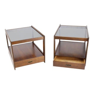 Mid-Century Modern Rectangular Cube Shape Smoked Glass Top End Tables - a Pair For Sale