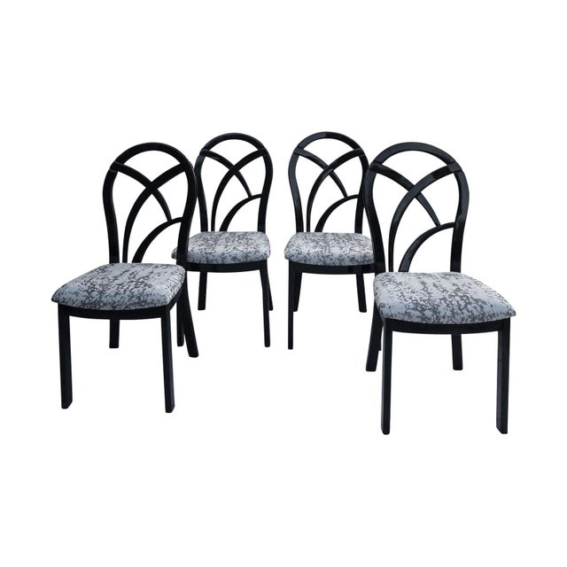 Wood 80's Italian Black Lacquer Art Deco Dining Chairs - Set of 4 For Sale - Image 7 of 7