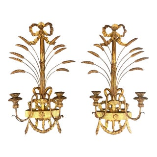 1940s Italian Giltwood Wall Sconces - a Pair For Sale