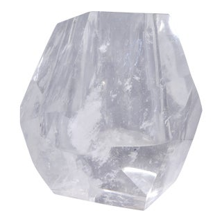 Robert Kuo Multi Faceted Rock Crystal Vase For Sale