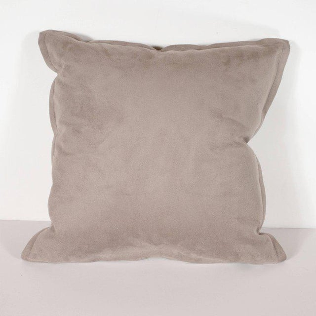 Pair of Custom Modernist Horsehide and Ultra Suede Banded Pillows in Metallic Tones For Sale In New York - Image 6 of 10