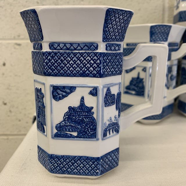 Blue & White Chinoiserie Coffee Mugs - a Set 10 For Sale - Image 4 of 13