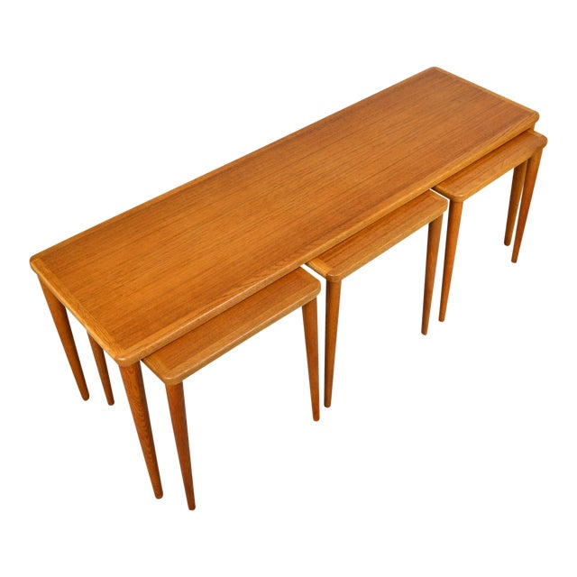 Dux of Sweden 1960s Teak Coffee Table With Three Nesting Tables - 4 Pieces For Sale