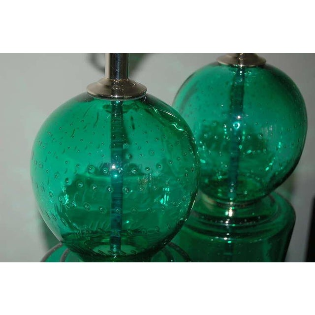 Brass Vintage Murano Glass Table Lamps Green For Sale - Image 7 of 10