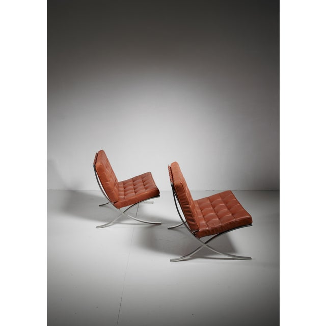 Bauhaus Pair original Barcelona chairs, 1st Knoll edition, 1950s For Sale - Image 3 of 8