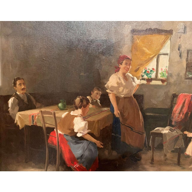 19th Century Hungarian Oil on Canvas Painting in Gilt Frame Signed & Dated, 1897 For Sale In Dallas - Image 6 of 12