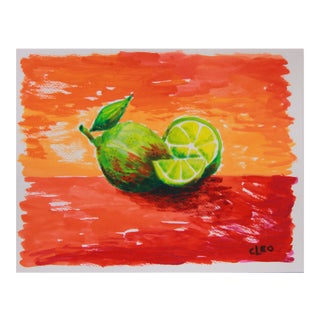 Lime Still Life Abstract Painting by Cleo For Sale
