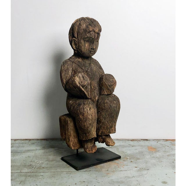 1900 - 1909 1900s Antique Southeast Asian Child Carving For Sale - Image 5 of 6