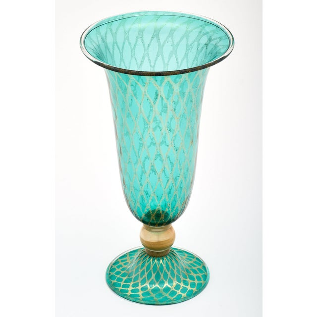 Early 21st Century Set of Three Green and Gold Murano Glass Vases For Sale - Image 5 of 11