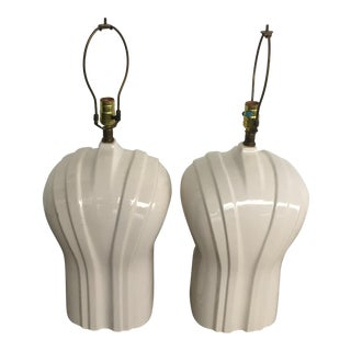 Art Deco Hollywood Regency Tuxedo Lucite Lamps - A Pair