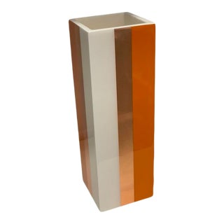 Lacquer Flower Vase in Orange, Copper Leaf and White For Sale