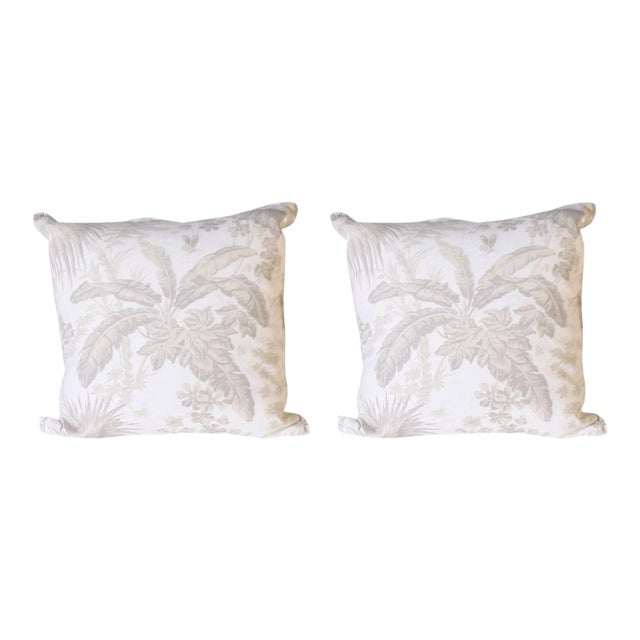 Pair of Pillows Upholstered in Jan Showers for Kravet Flamands Taupe Fabric For Sale