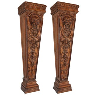 19th C. English Pine Pedestals For Sale