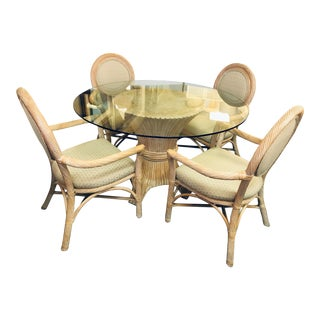 Vintage McGuire Style Dining Set For Sale