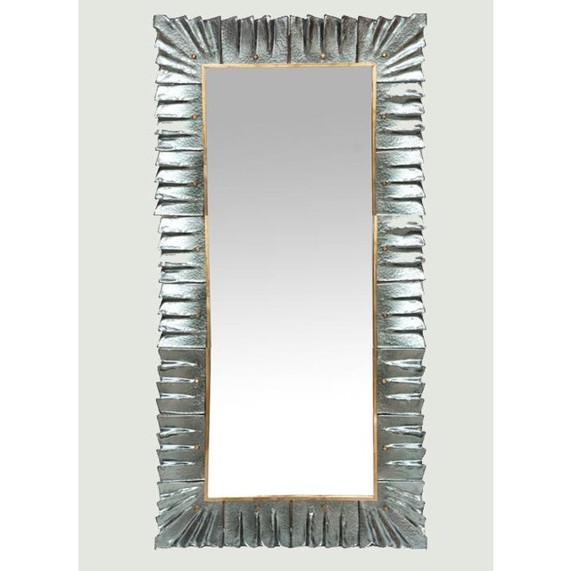 Metal Large Modern Aqua Green Murano Glass Framed Mirror For Sale - Image 7 of 7