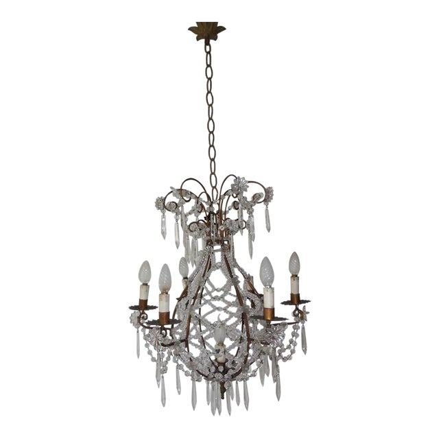 French Beaded Balloon Crystal Chandelier, circa 1940 For Sale