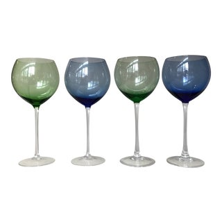 Lenox Blue & Green Wine Glasses - Set of 4