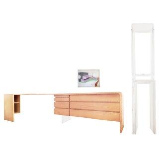 Custom Vladimir Kagan Ash Wood & Lucite Desk & Dresser For Sale