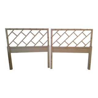 1970s Vintage Bali Hai by Henry Link Faux Bamboo Twin Headboards- a Pair For Sale