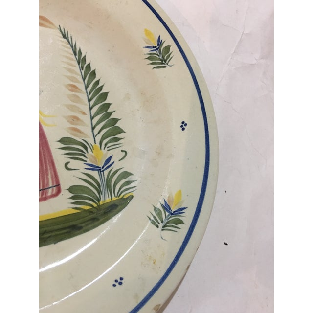 French 1940s French Henriot Quimper Porcelain Plate For Sale - Image 3 of 8